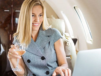woman luxury private jet