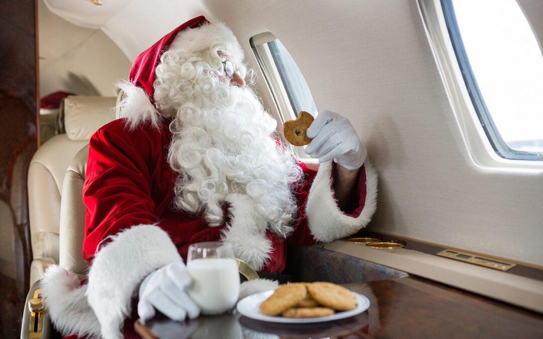santa flying private jet